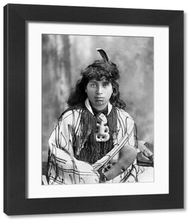 NEW ZEALAND: MAORI WOMAN.   A portrait of a Maori woman from Rotorua, New Zealand, in traditional clothing. Photograph, late 19th or early 20th century