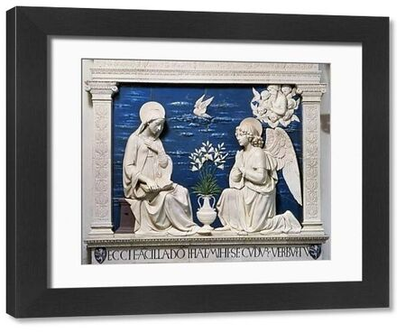 DELLA ROBBIA: ANNUNCIATION.  Glazed ceramic relief at the Sanctuary of La Verna, Italy, by Andrea della Robbia (1435-1525)