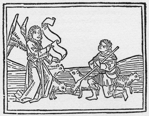 ANNUNCIATION TO SHEPHERDS. English woodcut, c1500