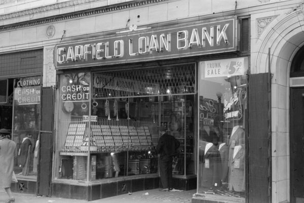CHICAGO: LOAN BANK, 1941.   A loan bank on the South Side of Chicago, Illinois. Photograph by Russell Lee, April 1941