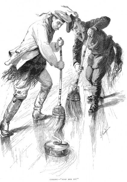 CURLING PLAYERS, 1885.  A curling match in Canada. Wood engraving, American, 1885