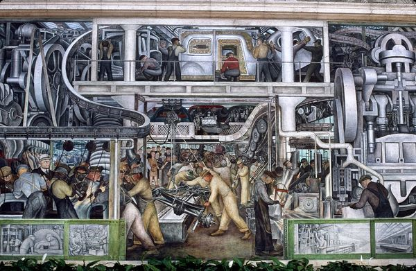 DIEGO RIVERA: DETROIT.  Automobile Industry. Large detail of Diego Rivera's mural at The Detroit Institute of Arts, 1932-1933