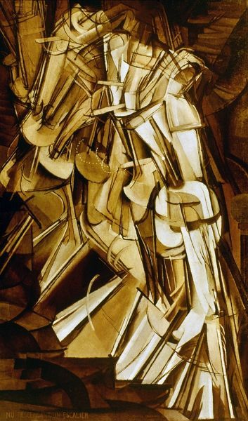 DUCHAMP: NUDE DESC., 1912.  Marcel Duchamp: Nu descendant un escalier, no. 2. Oil on canvas, 1912