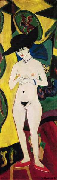 KIRCHNER: STANDING NUDE.   'Standing Nude with Hat.' Oil on canvas, Ernst Ludwig Kirchner, 1910