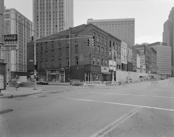 MICHIGAN: DETROIT, c1980.   Commercial building on Monroe Avenue in Detroit, Michigan. Photograph, c1980