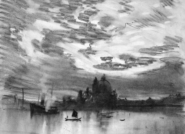 PENNELL: VENICE, C1905.   Evening view of a steamship departing Venice, Italy. Drawing by Joseph Pennell, c1905