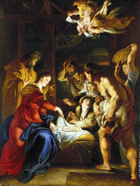 RUBENS: ADORATION, c1608. 'Adoration of the Shepherds.' Oil on canvas by Peter Paul Rubens, c1608