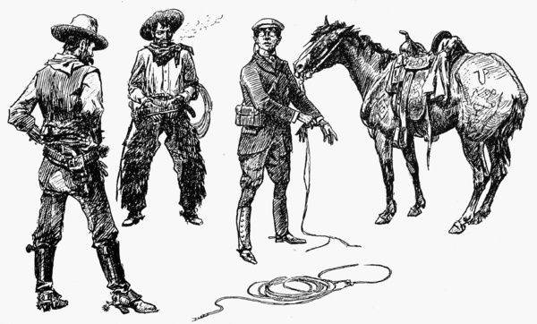 RUSSELL: TENDERFOOT.   'Initiation of the Tenderfoot.' Drawing by Charles M. Russell (1864-1926)