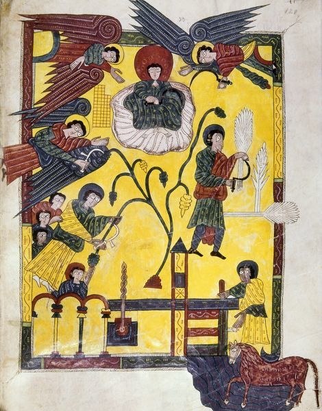 SPAIN: GRAPE HARVEST. Spanish Christians harvesting grapes with the help of angels as wine flows out of a press at bottom. Manuscript illumination, c970