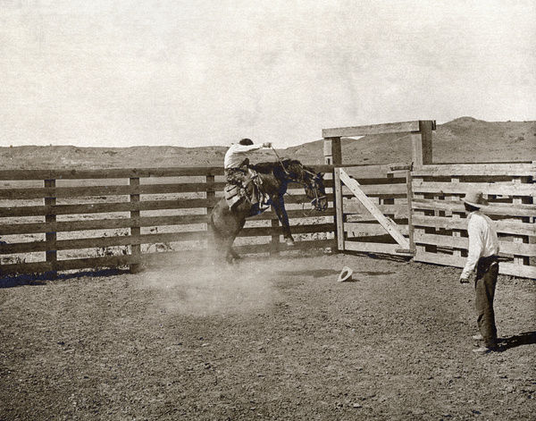 TEXAS: COWBOYS, c1907.   Two cowboys breaking a horse in a corral on the LS Ranch in Texas. Photograph by Erwin Evans Smith, c1907
