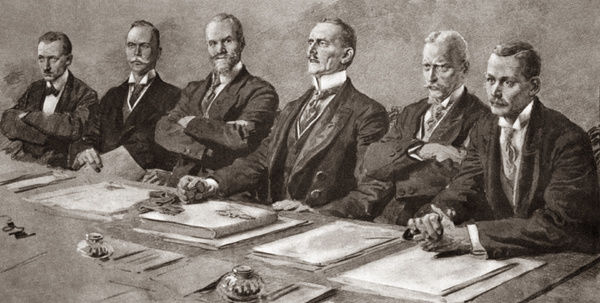 TREATY OF VERSAILLES, 1919.   German Delegates listening to Clemenceau at the signing of the Treaty of Versailles. From left: Delegates Melchior, Leinert, Landsberg, Von Brockdorff-Rantzau, Giesberts and Schuecking in Versailles, France. Illustration