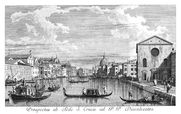 VENICE: GRAND CANAL, 1735.   The Grand Canal in Venice, Italy, looking north-east from Santa Croce to San Geremia. The dome of San Simeone Piccolo is in the distance. Engraving, 1735, by Antonio Visentini after Canaletto