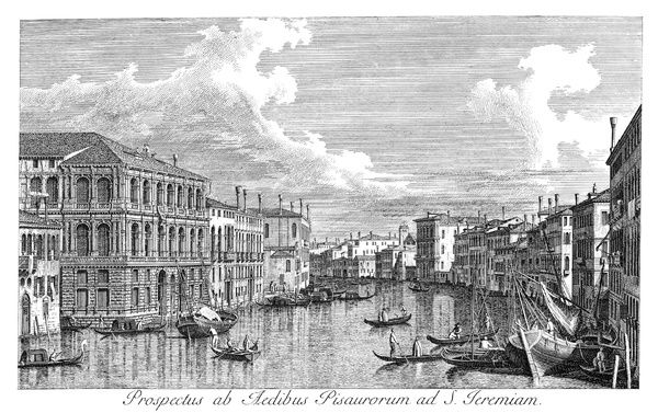 VENICE: GRAND CANAL, 1735.   The Grand Canal in Venice, Italy, looking north-west from the Palazzo Pesaro to San Marcuola. Engraving, 1735, by Antonio Visentini after Canaletto