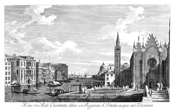 VENICE: GRAND CANAL, 1735.   The Grand Canal in Venice, Italy looking east from Santa Maria della Carita to the Bacino di San Marco. Engraving, 1735, by Antonio Visentini after Canaletto