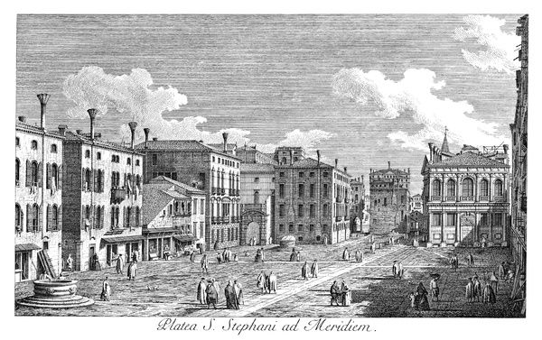 VENICE: STEFANO, 1735.   Campo San Stefano in Venice, Italy,(formerly named after Francesco Morosini) with Palazzo Morosini left of center and Palazzo Loredan on the right. Engraving, 1735, by Antonio Visentini after Canaletto