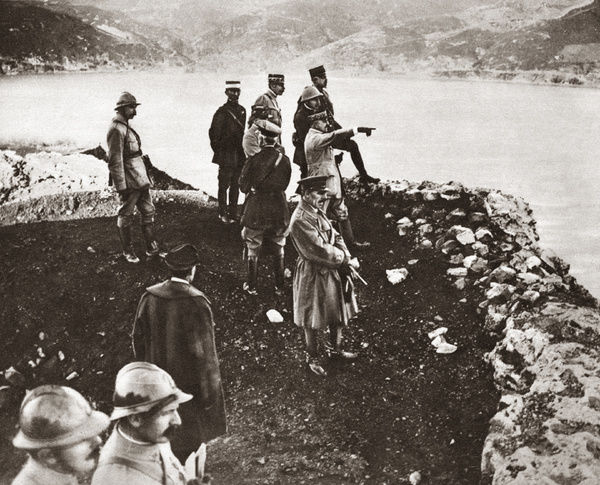 WORLD WAR I: BLACK SEA.   General Edmund Allenby with his back to the camera and General Franchet d'Esperey standing on the shore of the Black Sea pointing towards Sebastopol (now Sevastopol), Crimea. Photograph, c1918