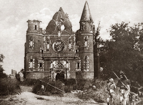 WORLD WAR I: TILLOLOY.   French troops passing destroyed church at Tilloloy, France. Photograph, c1916