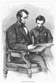 (1809-1865). 16th President of the United States. Lincoln at home with his son Thomas Todd (Tad)