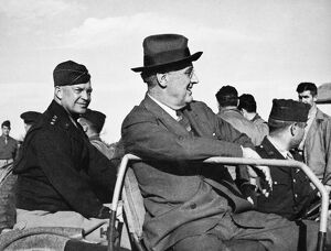 (1882-1945). 32nd President of the United States. Reviewing Allied troops in Sicily
