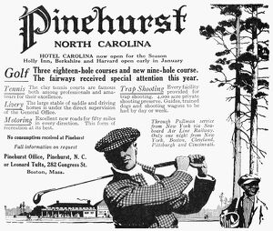 Advertisement for Pinehurst Country Club in North Carolina, from an American magazine