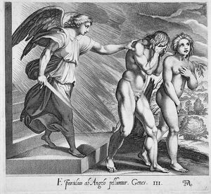 ADAM AND EVE. Expulsion from Eden. Line engraving, 17th century.