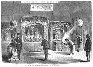 'Altar in the Chinese joss house (temple), San Francisco.' Wood engraving