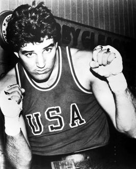 American boxer, probably heavyweight Gerry Cooney, photographed at Gleason's Gym in New York