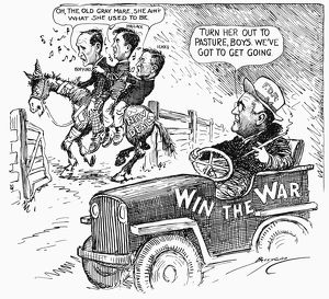 American cartoon by Clifford Berryman, 1943, illustrating President Roosevelt's