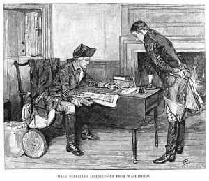 American Revolutionary soldier. 'Hale receiving instructions from General George Washington