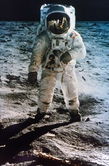 APOLLO 11: BUZZ ALDRIN. Astronaut Edwin 'Buzz' Aldrin standing on moon. Neil Armstrong