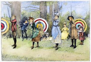ARCHERY, 1886. Young archers. Pen-and-ink drawing, 1886, by Albert Edward Sterner