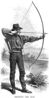 Archery. Wood engraving, late 19th century