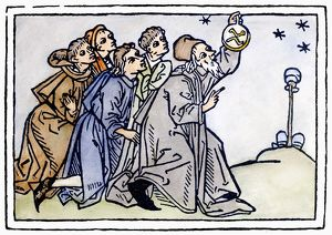 ASTRONOMERS, 1476. Woodcut from an edition of Rodericus Zamorensis' 'Speculum