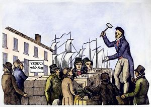 AUCTION, c1830. Goods being auctioned in an American seaport. Woodcut, American, c1830