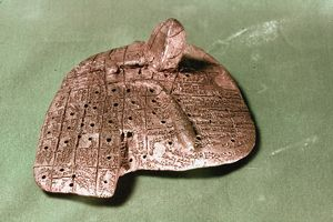 BABYLONIAN CUNEIFORM. Babylonian clay model of a sheep's liver inscribed with