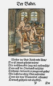 BATHHOUSE PROPRIETOR, 1568. The proprietor of a bathhouse removing a flea