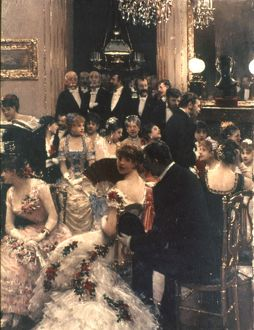 BERAUD: LA SOIREE, c1880. Oil on wood, c1880, by Jean B