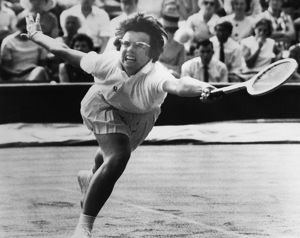 BILLIE JEAN KING (1943- ). American tennis player, photographed during a match at Wimbledon