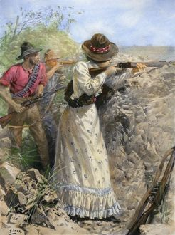 BOER WAR, 1900. Mrs. Davies, a British settler, firing on Boer positions during