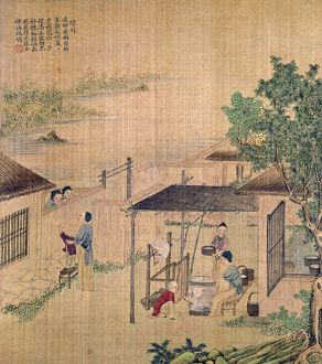 Boiling silkworm cocoons. Chinese silk painting, c1650-1726.