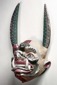 BOLIVIA: NATIVE MASK. Devil dance mask made by native Bolivians
