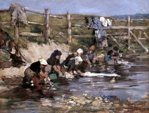 BOUDIN: LAUNDRESSES. 'Laundresses by a Stream.' Oil on wood by Eugene Boudin.