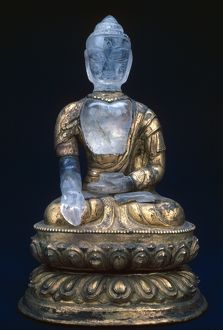 Buddha Maitreya, the Buddha who has not yet appeared on earth. Rock crystal sculpture