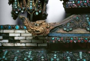 Detail from a Buddhist shrine from Nepal, 19th century.