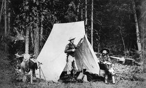 CAMPING, c1872. Men, possibly surveyors, in their camp during the geological surveys