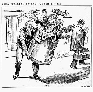 Cartoon depicting newly elected President Franklin Delano Roosevelt throwing out