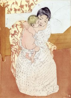 CASSATT: CARESS, 1891. 'Maternal Caress.' Drypoint and aquatint by Mary Cassatt
