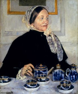 CASSATT: LADY AT TEA, 1885. The Lady at the Tea Table. Oil on canvas by Mary Cassatt.