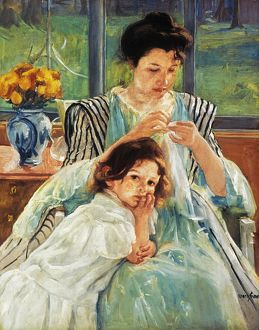 CASSATT: MOTHER SEWING. Young Mother Sewing. Oil on canvas, 1902, by Mary Cassatt.