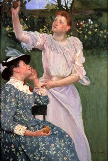 CASSATT:PICKING FRUIT 1891. Mary Cassatt: Women Picking Fruit. Oil on canvas, 1891.